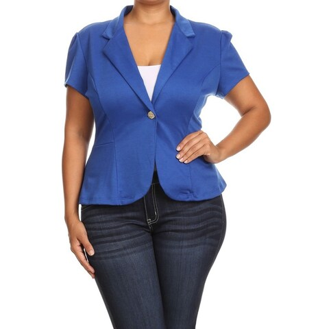 MOA Collection Women's Blue Rayon/Spandex Plus Size Solid Blazer Jacket