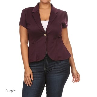 MOA Collection Women's Blue Rayon/Spandex Plus Size Solid Blazer Jacket (More options available)