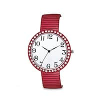 Jumbo Dial Stretch Band Watch Crystal Bezel Easy Read Dial