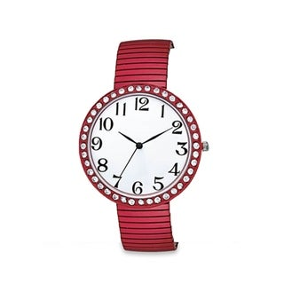 Jumbo Dial Stretch Band Watch Crystal Bezel Easy Read Dial (Option: Red)