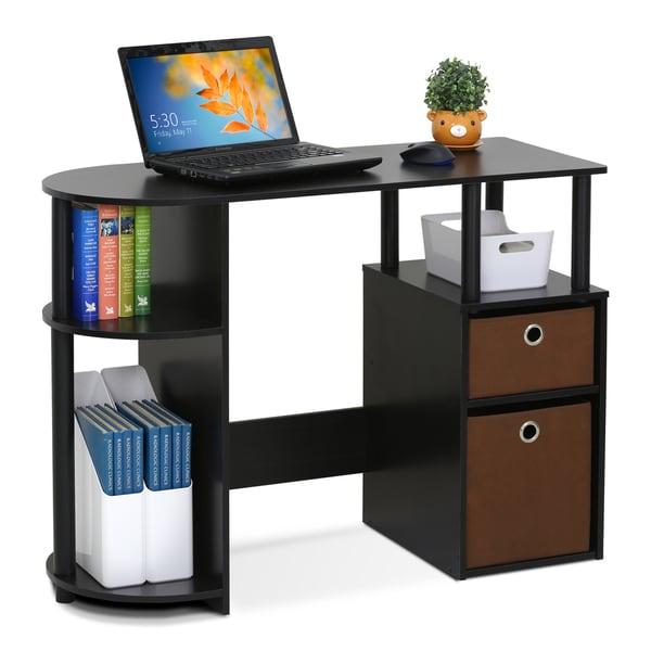 Furinno 15111 Jaya Simplistic Espresso Mdf Computer Study Desk With Bin Drawers