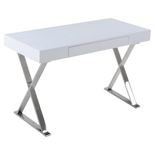 White Lacqured Wood Glam Desk