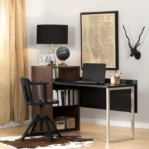 South Shore Furniture Black Leather Tasko Desk with Storage