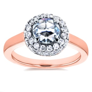 Annello by Kobelli 14k Rose Gold 1 2/5ct TDW Round Rose Cut Diamond Bead Prong Cluster Engagement Ring (H-I, I1-I2)