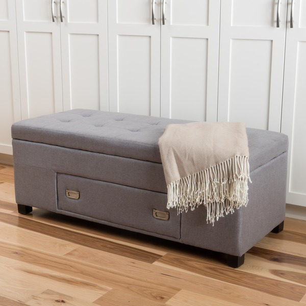 Shop Bluebell Fabric Storage Ottoman With Drawer By