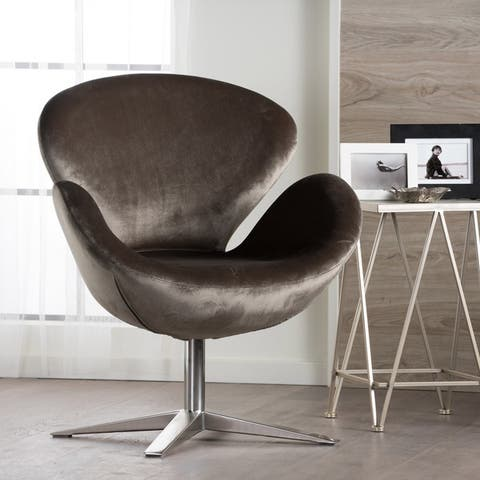 Athena Velvet Modern Swivel Petal Chair by Christopher Knight Home