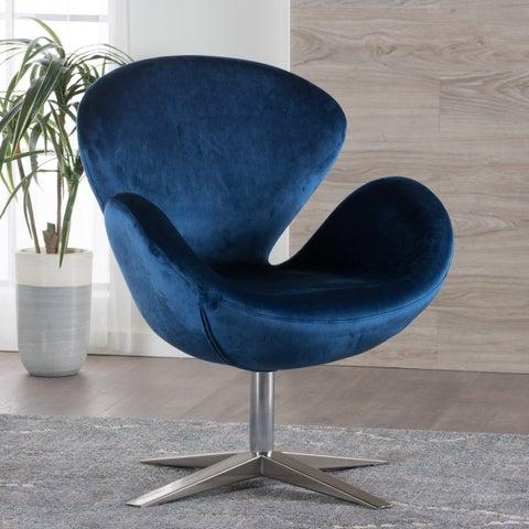 Athena Velvet Modern Swivel Petal Chair by Christopher Knight Home
