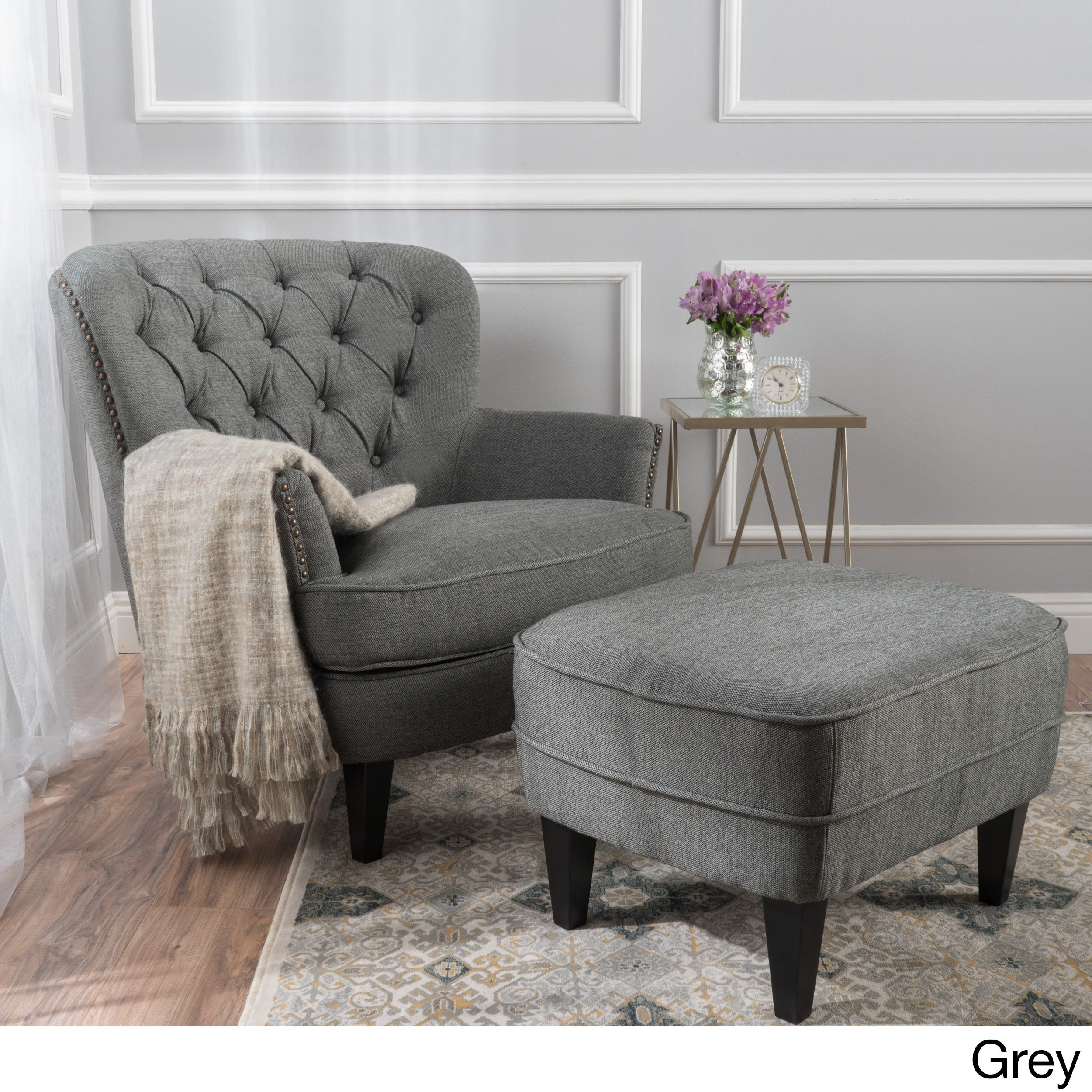 Tafton Tufted Fabric Club Chair With Ottoman By Christopher Knight ...