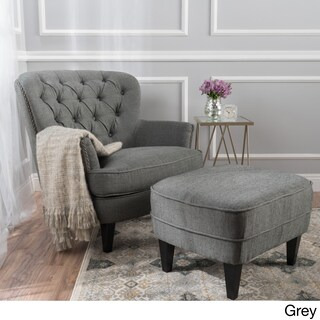 Tafton Tufted Fabric Club Chair with Ottoman by Christopher Knight Home (2 options available)