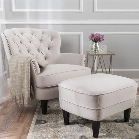 Tafton Tufted Fabric Club Chair with Ottoman by Christopher Knight Home