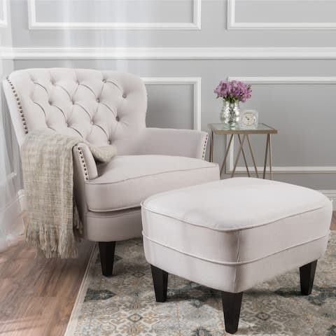 Tafton Tufted Club Chair with Ottoman by Christopher Knight Home