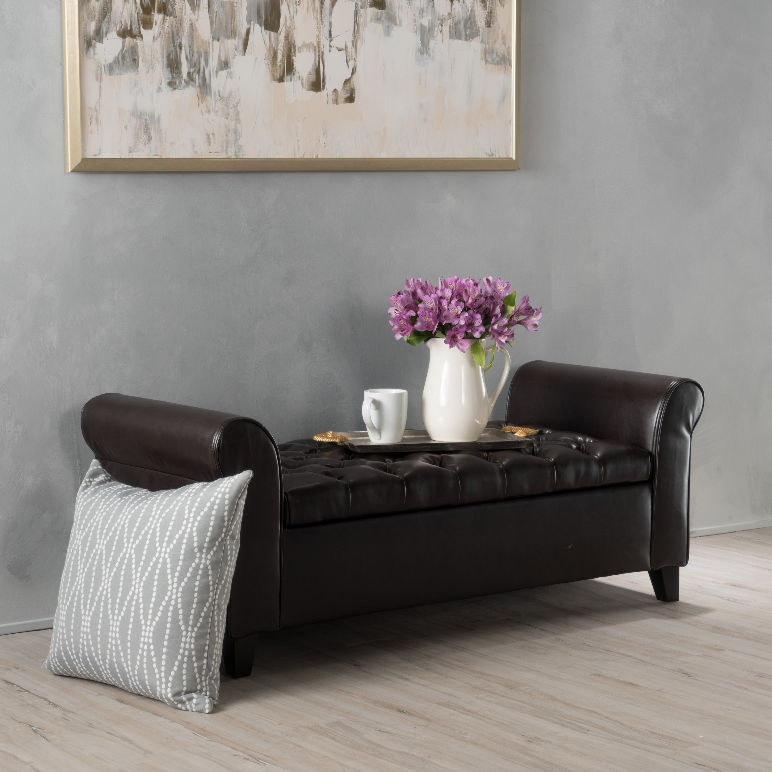 Details about Storage Ottoman Brown Wood Frame Faux Leather Rectangle  Living Room Furniture US