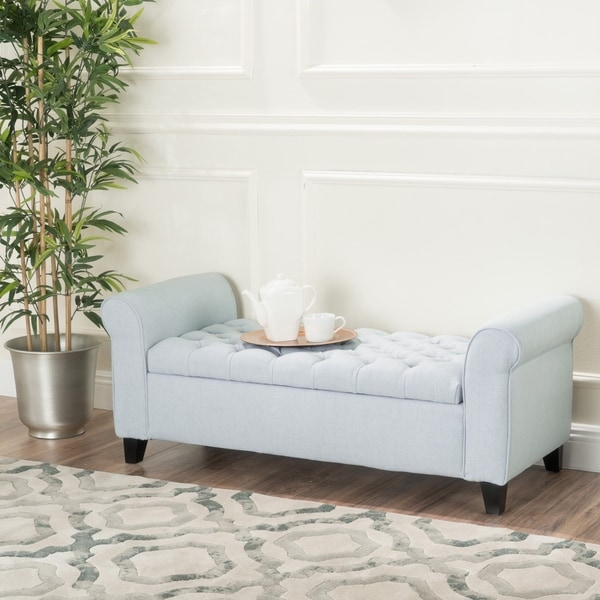 Keiko Contemporary Rolled Arm Fabric Storage Ottoman Bench by Christopher Knight Home. Opens flyout.