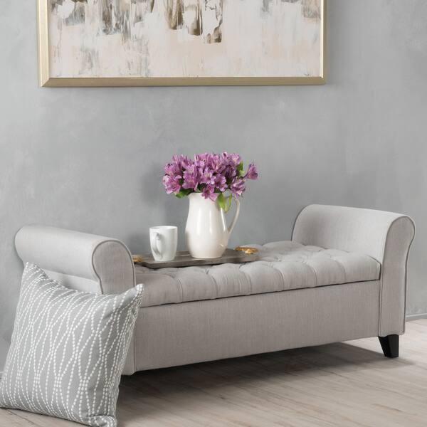 Peachy Shop Keiko Tufted Fabric Armed Storage Ottoman Bench By Creativecarmelina Interior Chair Design Creativecarmelinacom