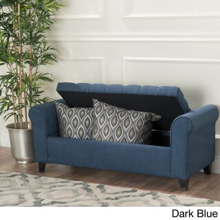 Keiko Tufted Fabric Armed Storage Ottoman Bench by Christopher Knight Home (Option: Dark Blue)