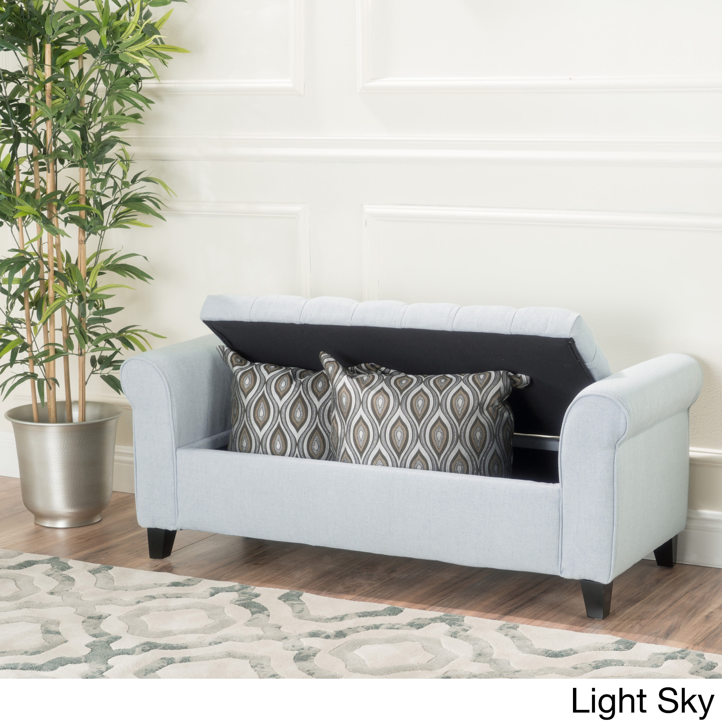 Kosas Home Fabric Storage Bedroom Bench Reviews: Keiko Tufted Fabric Armed Storage Ottoman Bench By