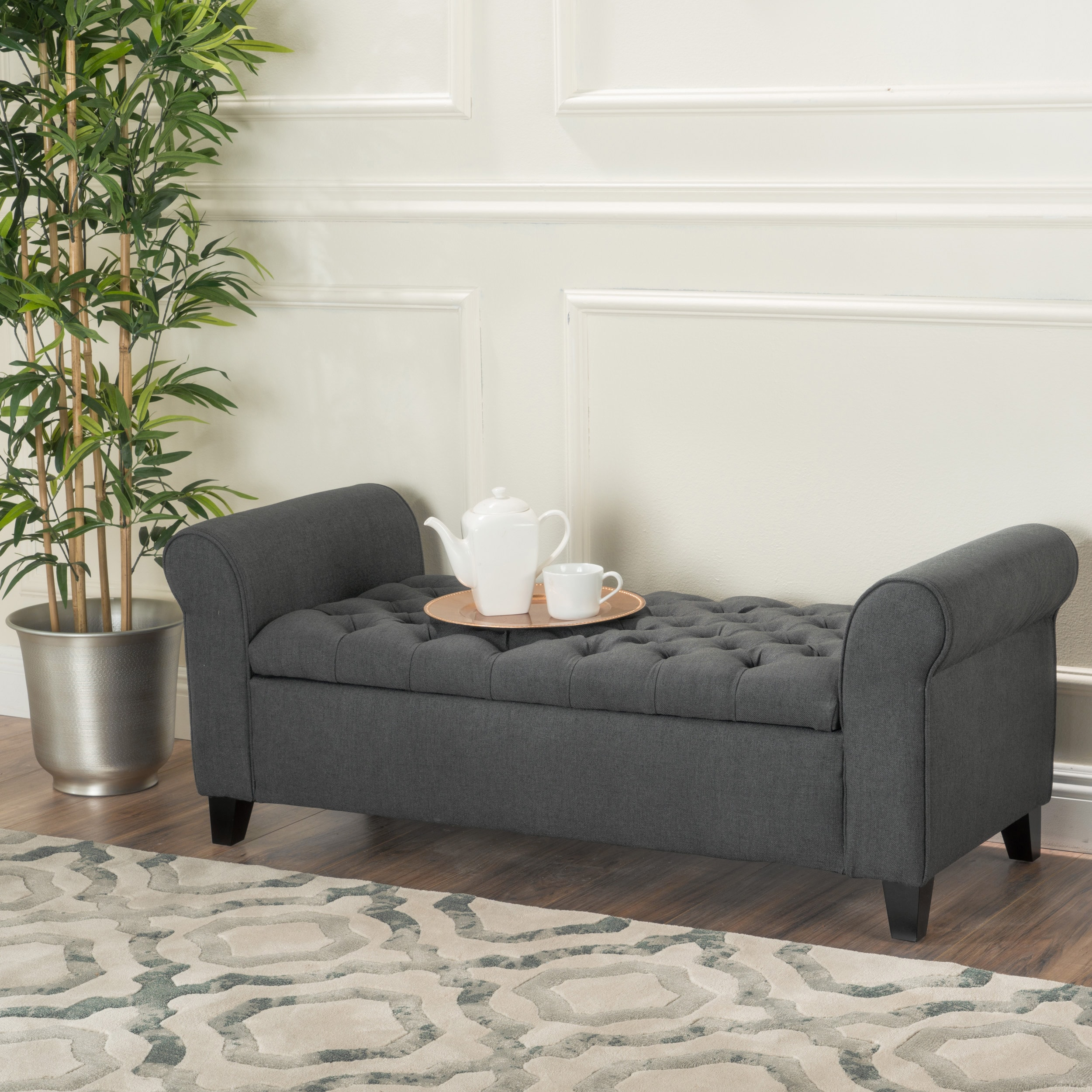 Ottoman Bench Tufted Dark Grey Transitional Storage Living