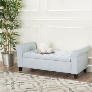 keiko tufted fabric armed storage ottoman bench by christopher knight home - Living Room Bench