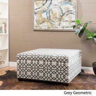 Tempe Geometric Fabric Storage Ottoman by Christopher Knight Home