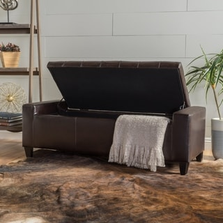 Hikaru Faux Leather Storage Ottoman Bench by Christopher Knight Home