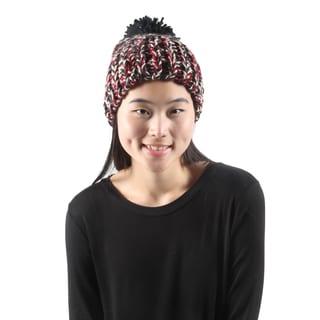 Hadari Red Crochet Pom Beanie