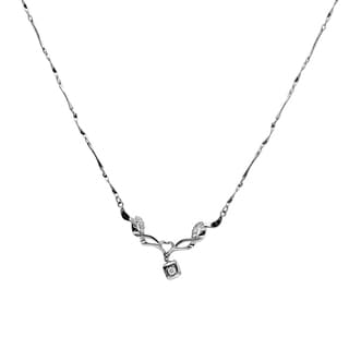Orchid Jewelry 925 Sterling Silver White Cubic Zirconia Necklace