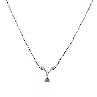 Orchid Jewelry 925 Sterling Silver Red and White Cubic Zirconia Necklace