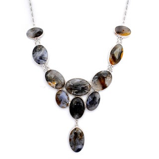 Orchid Jewelry 925 Sterling Silver 269 3/5 Carat Oval Cut Agate Necklace