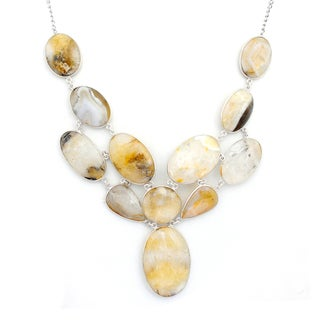 Orchid Jewelry 925 Sterling Silver 279 8/9 Carat Oval Cut Agate Necklace