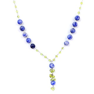 Orchid Jewelry 925 Sterling Silver 66.9 Carat Blue Dot Agate and Peridot Necklace