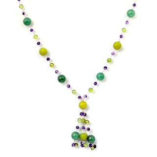 Orchid Jewelry 925 Sterling Silver 80 5/9 Carat Multi Gemstones Necklace