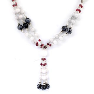 Orchid Jewelry 925 Sterling Silver 125 5/9 Carat Agate, Obsidian and Garnet Necklace
