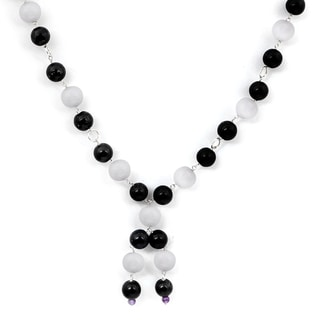 Orchid Jewelry 925 Sterling Silver 136 2/5 Carat Agate, Onyx and Amethyst Necklace