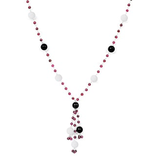 Orchid Jewelry 925 Sterling Silver 59 2/5 Carat Agate, Onyx and Garnet Necklace