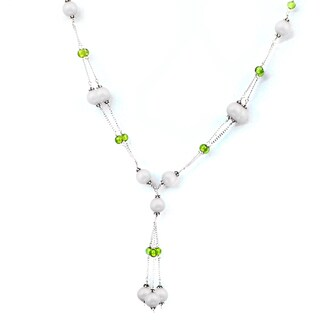 Orchid Jewelry 925 Sterling Silver 71.1 Carat Agate and Peridot Necklace