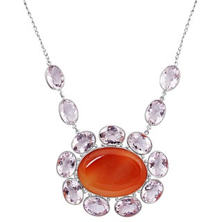 Orchid Jewelry 925 Sterling Silver 265 3/4 Carat Red Agate and Amethyst Necklace