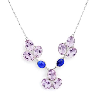 Orchid Jewelry 925 Sterling Silver 119 Carat Amethyst and Lapis Necklace