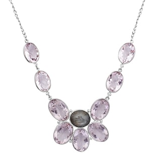 Orchid Jewelry 925 Sterling Silver 117.9 Carat Tanzanite and Amethyst Necklace