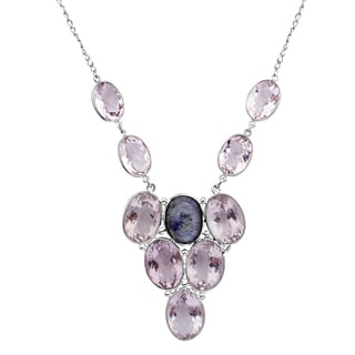 Orchid Jewelry 925 Sterling Silver 119 1/5 Carat Tanzanite and Amethyst Necklace