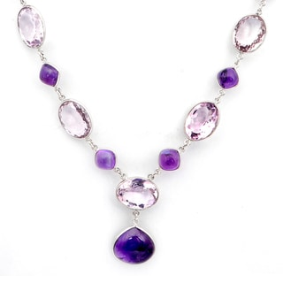 Orchid Jewelry 925 Sterling Silver 154 2/3 Carat Amethyst Necklace