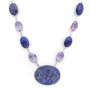 Orchid Jewelry 925 Sterling Silver 192 1 2 Carat Lapis And Amethyst Necklace