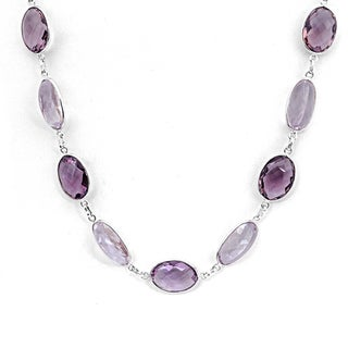 Orchid Jewelry 925 Sterling Silver 121.1 Carat Amethyst Necklace