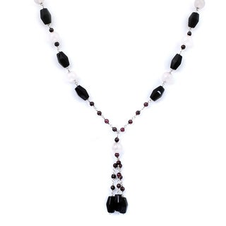 Orchid Jewelry 925 Sterling Silver 89 1/5 Carat Black Onyx, Rose Quartz and Garnet Necklace