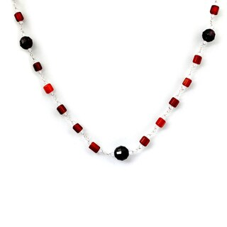 Orchid Jewelry 925 Sterling Silver 49 Carat Carnelian, Garnet and Crystal Quartz Necklace