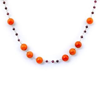 Orchid Jewelry 925 Sterling Silver 52 Carat Carnelian, Garnet Necklace