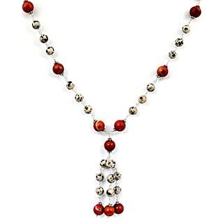 Orchid Jewelry 925 Sterling Silver 102 Carat Carnelian, Dalmatian Jasper Necklace