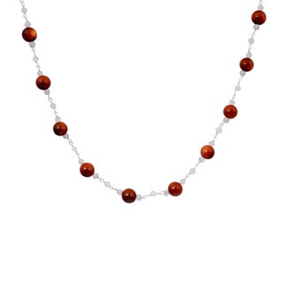 Orchid Jewelry 925 Sterling Silver 64 Carat Sunstone and Crystal Quartz Gemstone Necklace