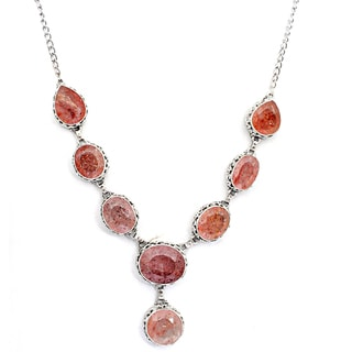 Orchid Jewelry 925 Sterling Silver 180 Carat Strawberry Quartz Necklace