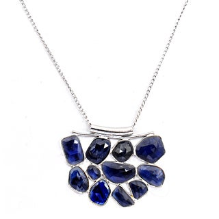 Orchid Jewelry 925 Sterling Silver 33.10 Carat Sapphire Necklace