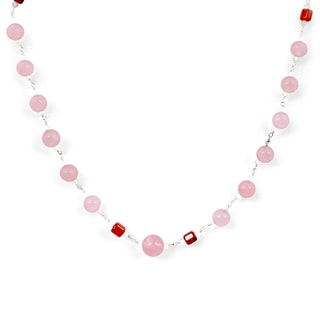 Orchid Jewelry 925 Sterling Silver 63.05 Carat Rose Quartz, Carnelian and Crystal Quartz Gemstone Necklace